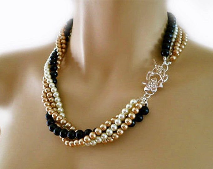 Champagne and Black Pearl Necklace