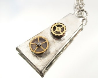 Modern Steampunk Soldered Necklace Watch Gears Resin Mixed Media Necklace