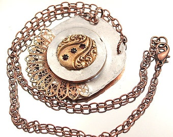 Antique Cuff Link Filigree Soldered Necklace Assemblage Necklace Two Tone Mixed Media Pendant