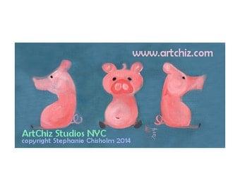 3 Sides of Pork. 3 Pink Pigs. Periwinkle Blue. Awesome Pink Pig Art.  Pig Illustration. Kids. Childrens. Illustration. Farm Animal Art Print