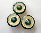 Vintage Celluloid Tight Top Buttons - Set of 3 Dark Teal and Cream