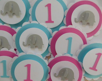 1st Birthday and Elephant Cupcake Toppers - Aqua, Rose Pink and Gray - Girl Birthday Party Decorations
