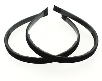"2 pieces - 10mm (3/8"") Velvet Lined Headband with Teeth in Black - Hair Accessories"
