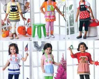 Simplicity 1954 CHILDREN'S NOVELTY APRONS -  Bumblebee, Birthday, Ladybug, 4th of July, Christmas, & Gingerbread Costumes