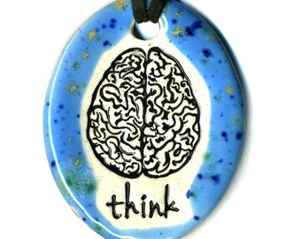 Brain with word Think Ceramic Necklace in Speckled Blue