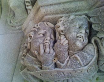 Church religious sculpture sad faces children statue stock photo image free use