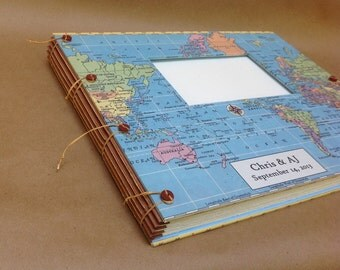 Travel Scrapbook Album for Photos and Mementos Personalized with choice of map, names, dates - Gift for Travelers or Honeymoon - Expandable
