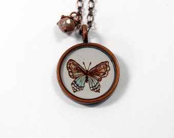 Blue and Brown Butterfly Hand Painted Necklace