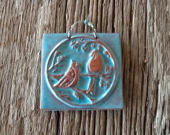 Blue Birds of Happiness Ceramic Tile