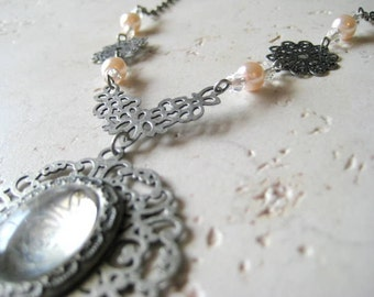 Pale Pink Pearl Translucent Rose Necklace
