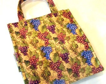 Grocery Bag Reusable Washable Grape Print