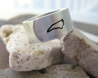 NORTH CAROLINA State Ring or any state - Choose from all 50, see charts, United States jewelry, geographic jewelry, tarheel