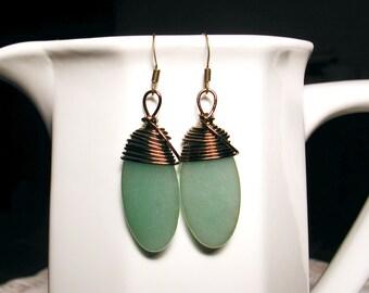 Antique Brass Wrapped Jade Gemstone Earrings - DREAM STONE