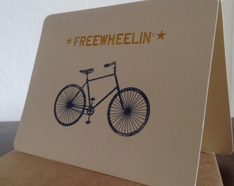 Freewheelin Bike - Screen-Printed Greeting Card