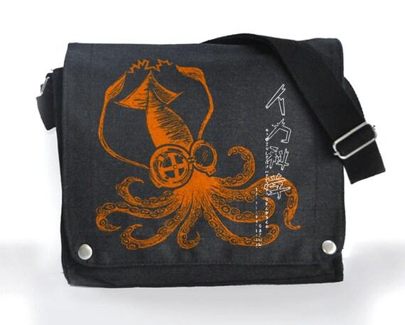 Green Mad Science Squid messenger bag  black