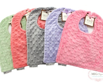 SPECIAL--Buy 3, Get 1 FREE-- Minky Dot Baby-to-Toddler Adjustable Snap Bibs