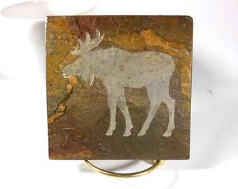 MOOSE 4x4 Art Tile - Hand Carved Slate Coaster Art, Etched Stone Art Coaster - Moose Decor, Hunter Gift, Man Gift, Father Gift, Lodge Decor