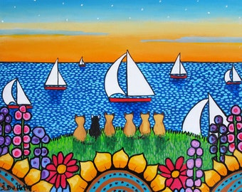 Siamese Cats and Tuxedo cat ocean sailboats ,  Shelagh Duffett