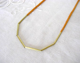 Cotton and Brass Bars Necklace