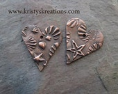 Copper Seashell Heart Charms/Earring pairs