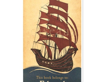 Personalized Bookplates - Vintage Boat - Personalized, Perfect Father's Day, Teacher Present