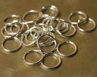 Large Silver plated jump ring 12mm outer diameter 16g thick, 24 pcs (item ID XMXM00532BDE)