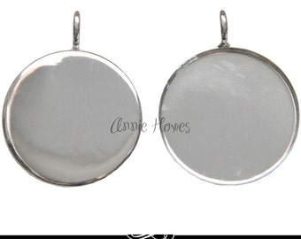 Large Circle Pendant Tray. Silver Plated. 32mm
