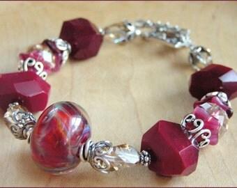 FIRE WITHIN Artisan Lampwork Beaded Bracelet