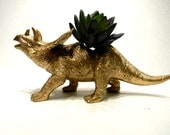 Dinosaur Planter Painted Gold for Succulent Plants and Small Cacti