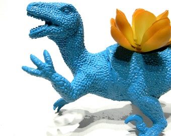 Dinosaur Planter Seaside Blue for Succulent Plants and Small Cacti