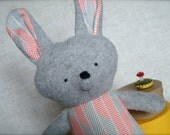 Bella Bunny - Plush Rabbit Doll - gray bunny with grey and red herringbone print dress