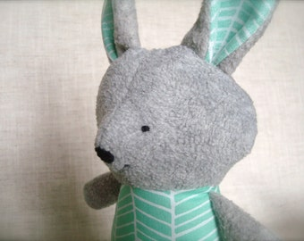 Bella Bunny - Plush Rabbit Doll - grey bunny with green and white chevron print dress