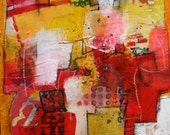 Modern Geometric Textured Abstract in Yellows and Reds  'After 5'    by Jodi Ohl
