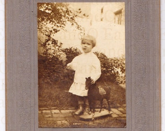 Antique Cabinet Card - Edwardian Portrait of a Little Girl and Her Stuffed Horse Pull Toy 1910s