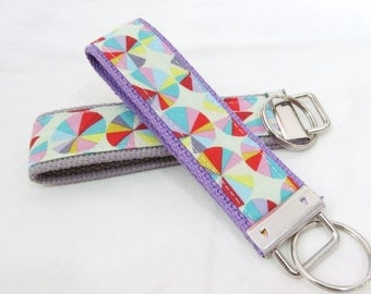 KeyFob Key Chain Wristlet in Field Study Sundials in Happy - Keychain with your choice of webbing