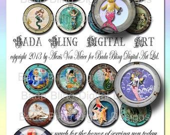 "Porthole Mermaids, 1.5"" circles, INSTANT Download,mermaid collage sheets, vintage mermaids, mermaid pendants,mermaid jewelry,pill cases"