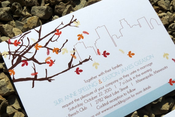 Wedding Invitations Mn: Modern Leaves Wedding Invitation Easton Fall By StelieDesigns