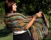 Hand Dyed Yarn, Shawl Kit, Wool, Silk, Mohair, Wrap, Rainbow Colors