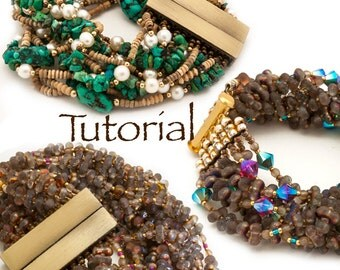 Beginner Bead Woven and Strung Bracelet Tutorial Free Falling - with seed beads, Farfalle, Crystals, Gemstones, magnetic or sew on clasp