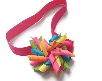 Korker Hair Bow pLuS elastic headband for girls - cute colorful hairbow 2 inch Korker Bow Fun Happy Birthday Hot pink yellow orange green