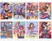 Fantasy ACEO ATC Collage Sheet - No. 2 - Printable Witch Fairy and Mermaid Images for Crafting by Nikki Burnette - COMMERCIAL Use