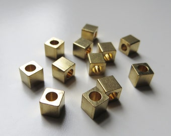 5mm Gold Metal Cube Beads - Large Hole - 12 pieces