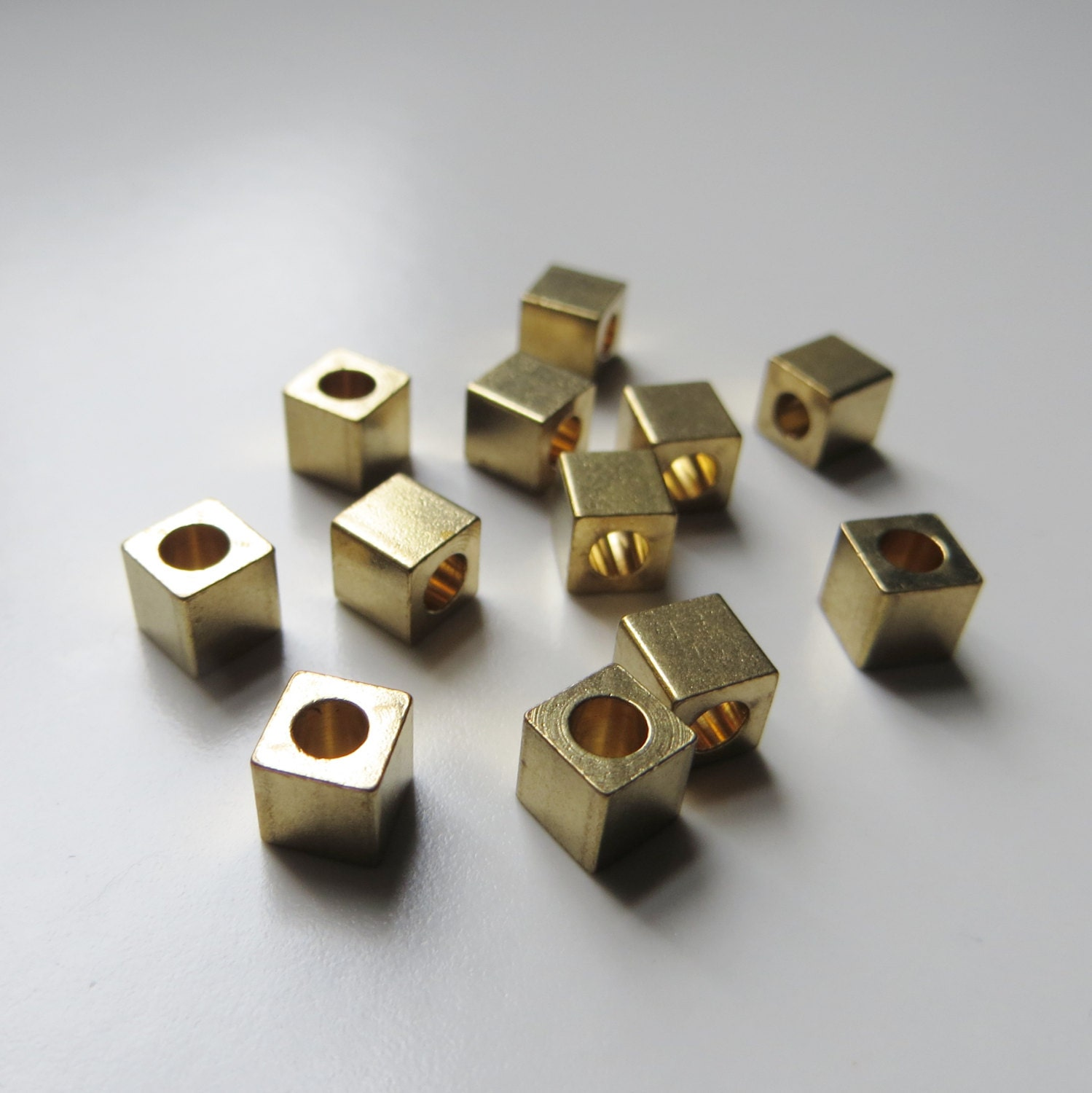5mm Gold Metal Cube Beads Large Hole 12 Pieces
