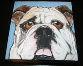 Custom Pet Portrait Painting 8x8 dog cat , pet memorial, gift idea