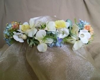 Easter eggs floral head wreath Ostara Eostar flower crown headwreath Spring Equinox wedding boho hair flowers