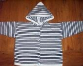 Handloomed stripe navy white hooded cardigan sailboat nautical child sweater size 4/5