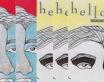 hola, hello art blank postcard set, pack of 6
