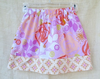 Sizes 6/12mo-8yrs  - ABSTRACT ROSE Simple Skirt- Boutique Girls Skirt