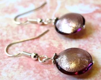Earrings pale amethyst and silver venetian glass. HALF PRICE SALE. Take 50% off.