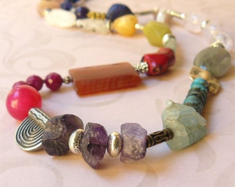 Mid length necklace various stone beads - ancient treasures SALE